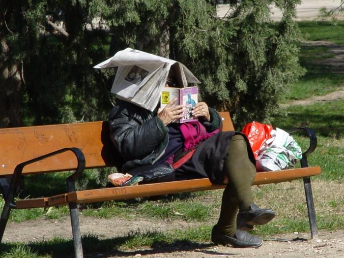 Retiro Frau mit Zeitung und Buch